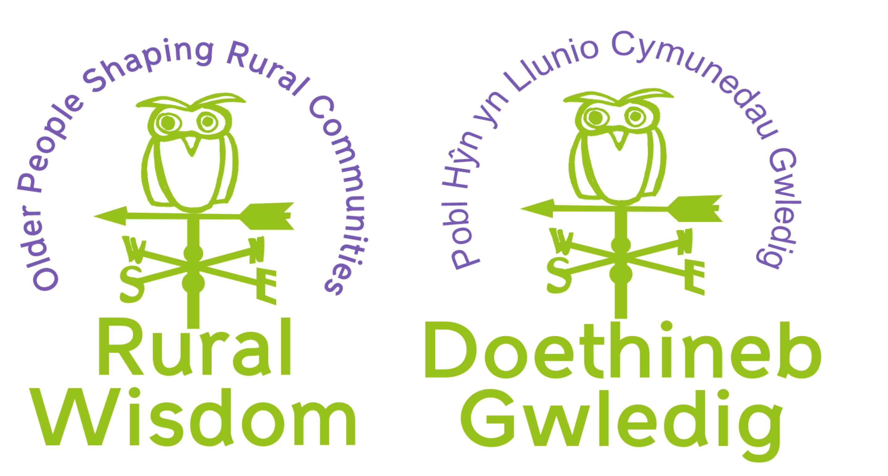 Rural Wisdom logos English and Welsh