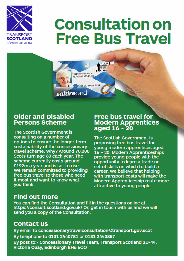 free bus travel consultation poster