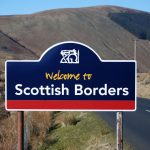 Scottish borders welcome sign