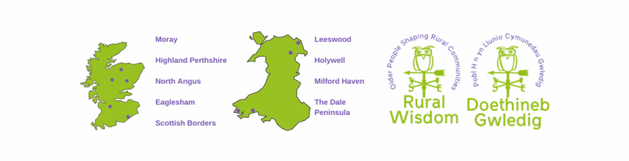 A map of Scotland and Wales, the Rural Wisdom logo and the list of project areas.