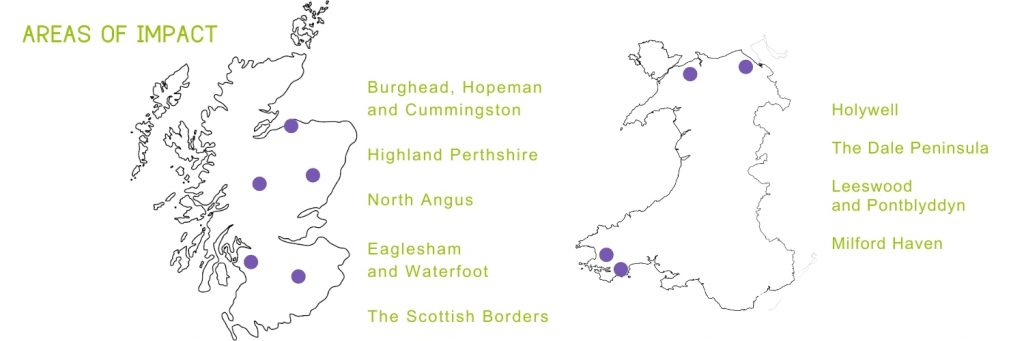 Map of Scotland and Wales with 9 areas highlighted