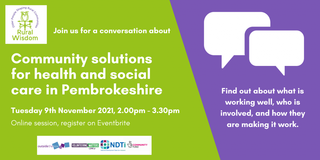 Image with green and purple background with description of event - a conversation about community solutions for health and social care in pembrokeshire